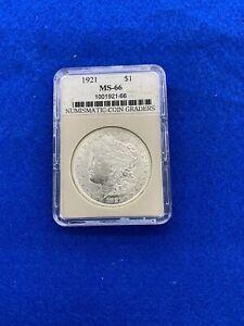 1921 $1 Morgan Silver Dollar NGC MS 66 100th Anniversary