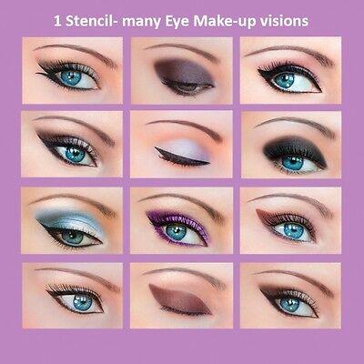 ORIGINAL 3 Set Quick Makeup Stencils+12 Eyeliner Stickies Eye Shadow Eyebrow US1