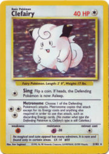 1x Clefairy 5//102 Unlimited Edition Moderately Played Pokemon G1 Holo Rare