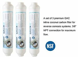 """3 Pack- Inline Post Carbon Filter GAC Reverse Osmosis Ice Refrigerator 3/8"""" NPT"""
