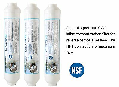 """3//8/"""" Quick Connect Inline RO Post Fridge Ice Coconut GAC Water Filter 2000 Gal"""