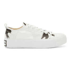 Details about McQ Alexander McQueen White and Black Plimsoll Platform Low Sneakers