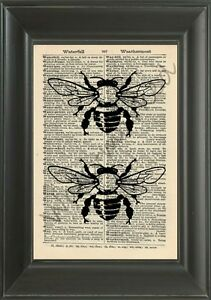 ORIGINAL-Bees-Vintage-Dictionary-Page-Art-Print-Wall-Hanging-NO-208B