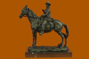 Hot-Cast-Remington-Tribute-Cowboy-Riding-Horse-Bronze-Sculpture-Marble-Figure