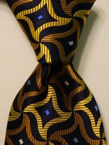 PAUL-FREDRICK-Men-039-s-100-Silk-Necktie-Designer-Geometric-Blue-Yellow-Orange-NEW