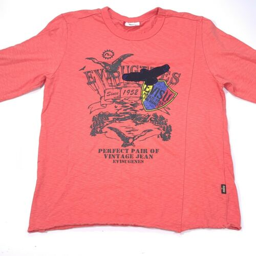 Rare! EVISU Long Sleeve Shirt  Men's Large Coral E