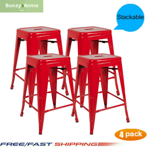 Metal Dining Chair Dining Room Chairs Backless Kitchen Chair Bar Stools Set of 4