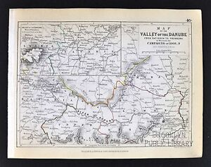 1850 Johnston Military Map Napoleon Valley Of The Danube 1808