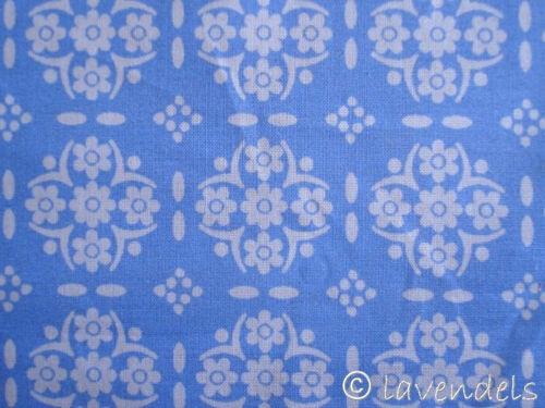 1 7//12ft Fabric Cotton Ökotex Vintage Blue Pattern Flowers