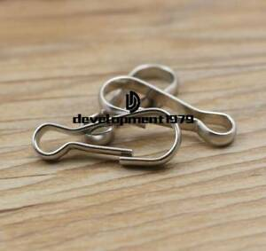 8 Pcs 50mm Silver Flag Pole Clips Stainless Steel Snap Hook Attachment