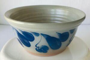 Stoneware-Pottery-Bowl-Grey-Blue-Flowers-Salt-Glaze-Signed-Elizabeth-4-034-x-8-25-034