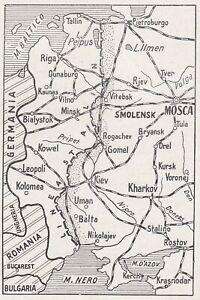 E0345-Russia-Kowel-Rogachev-Minsk-Riga-1942-Mappa-epoca-Vintage-Map
