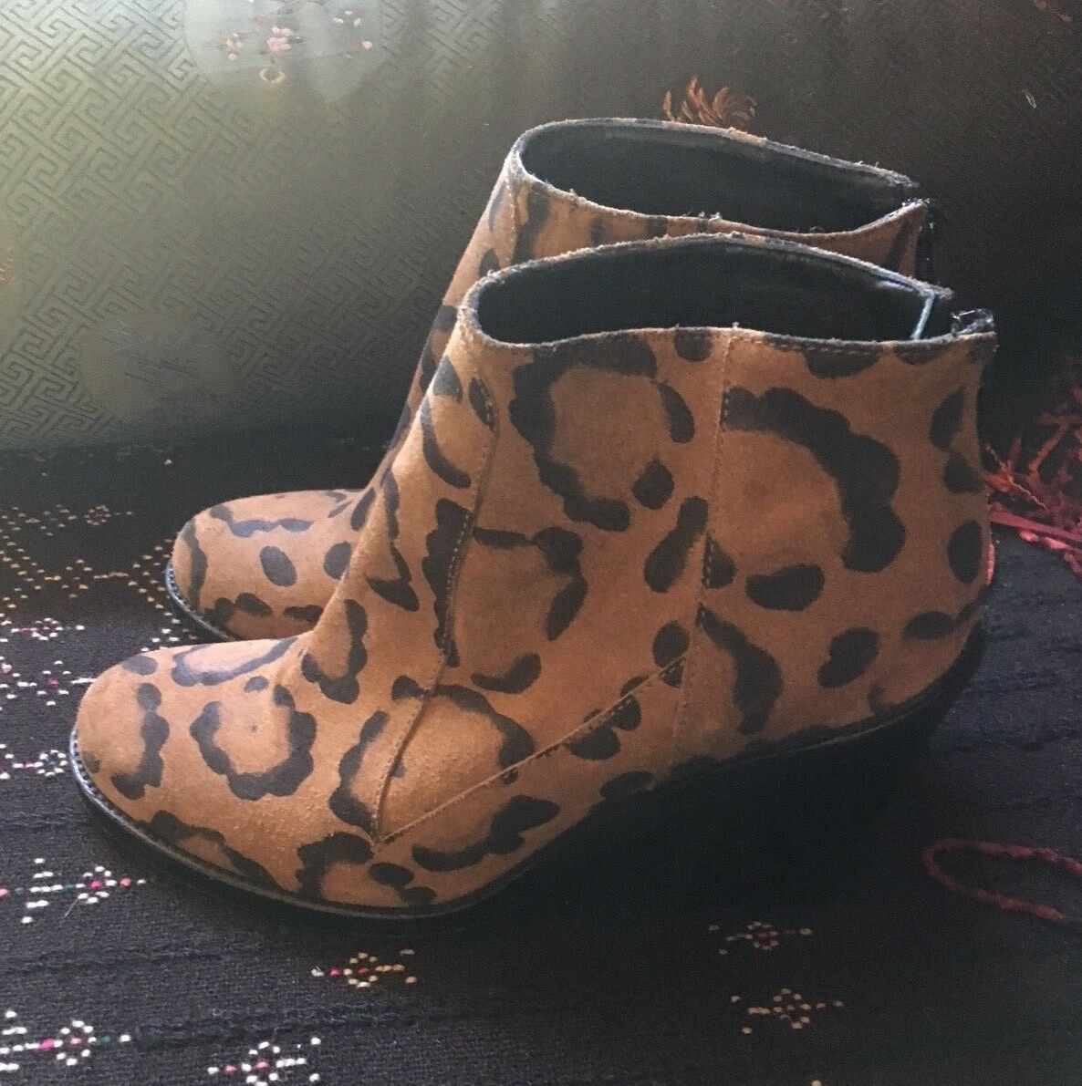 Surface to Air brown + Black animal skin booties size 37