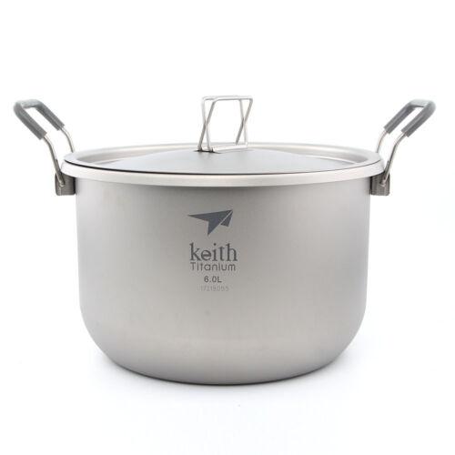 Keith Ti8301 Titanium Pot Stockpot Outdoor Hiking Picnic Cookware 6L 870g