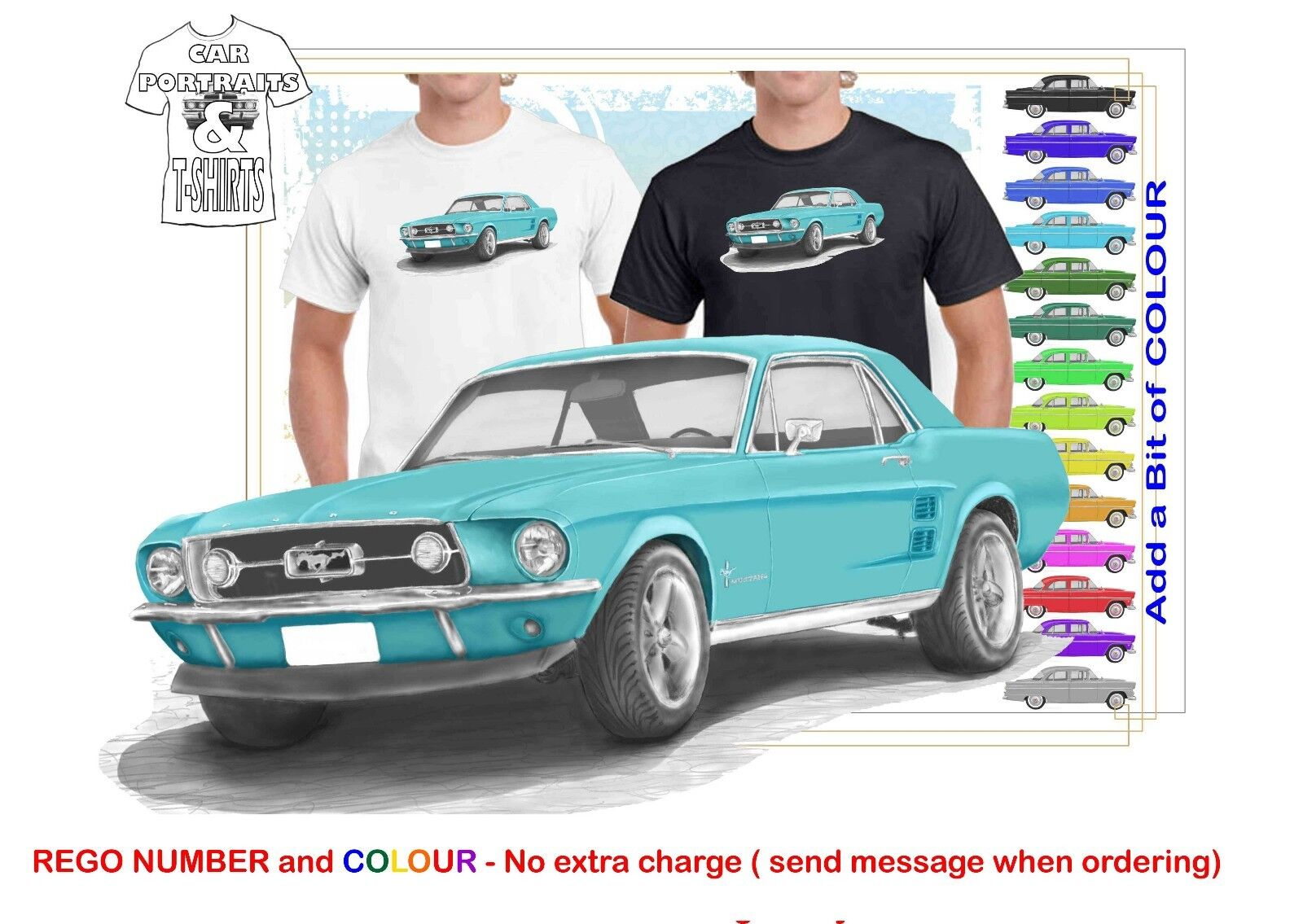 CLASSIC 1967 FORD MUSTANG COUPE ILLUSTRATED T-SHIRT MUSCLE RETRO SPORT CAR