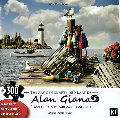 """Alan Giana Dockside Lighthouse Boat Large Jigsaw Puzzle 300 Pieces 24/""""X18/"""" Piece"""
