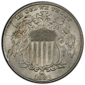1882 Shield Nickel - PCGS MS62 - GORGEOUS - Nice Die Cracks