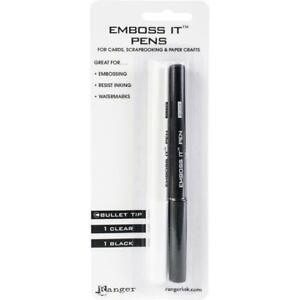 Ranger-039-EMBOSS-IT-PENS-039-Clear-amp-Black-2pk-Bullet-Tip-Use-with-Embossing-Powder