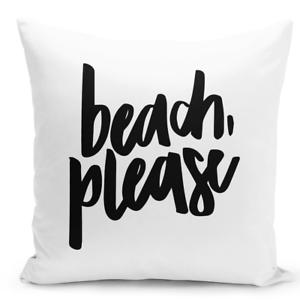 Throw Pillow Summer Beach Please Decorative Home Decor Zippered Cover 16x16
