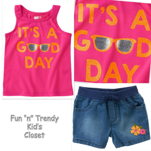 NWT Crazy 8 Girls Sz 4T 5T Good Day Tank Top /& Flower Denim Jean Shorts 2-PC SET