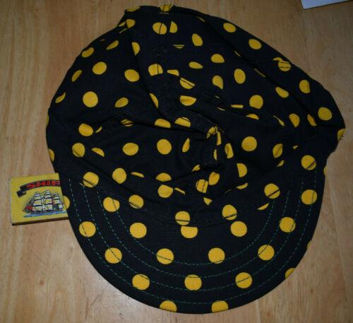 7 1//8 Cap Welder Made in USA Yellow Polka Dot on Black Kromer Welding Hat 57cm