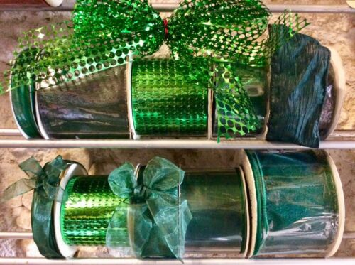 6 ROLLS CHRISTMAS GREEN RIBBONS GIFTS DECORATION TREES WREATHS WRAPPING MIXED