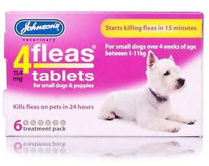 Johnson-039-s-4-pulgas-comprimidos-perros-pequenos-o-Puppys-paquete-de-6