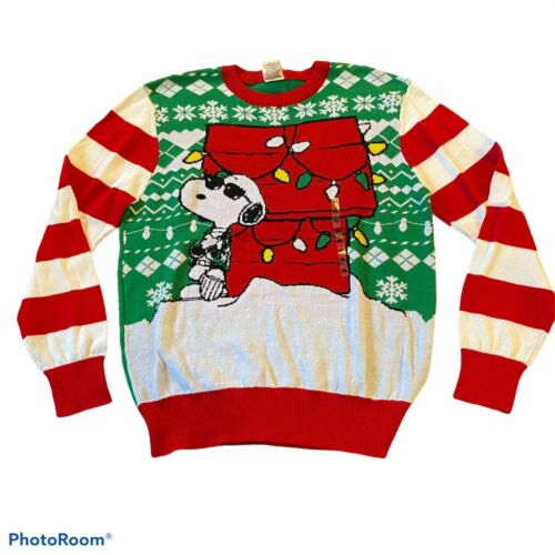 Ugly Christmas Sweater Snoopy Men/'s Size Small Peanuts Joe Cool Holiday