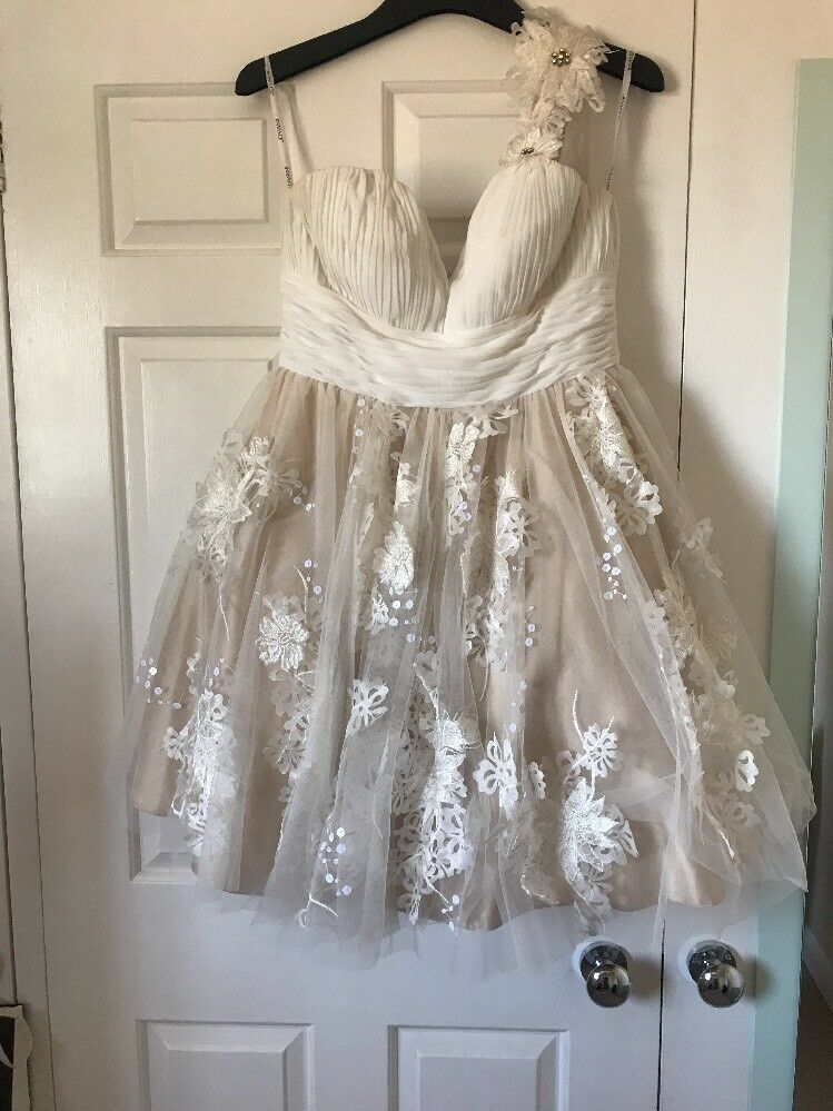 Jovani Cream champagne Dress Size 12