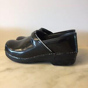 Dansko Clogs Black Shiny Leather Slip