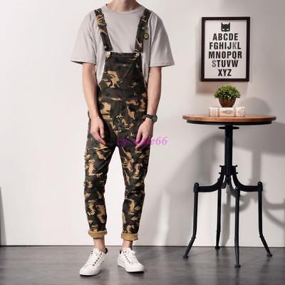 Fashion Men/'s Camo Slim Fit Pants Suspender Trousers Overalls Skinny Jeans Slim