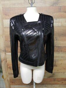 BCBG-MAXAZRIA-034-SUVI-034-Black-Motorcycle-Women-039-s-Jacket-Shirt-Size-L-NWT