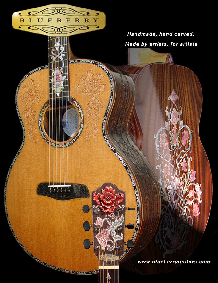 Blauberry Special Order Dreadnought Guitar Floral Masterpiece 90 day delivery