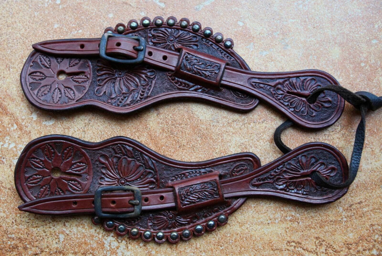 Señoras hermosas Estilo Vaquero Viejo Oeste Tallada a Mano Correas de espuela por Pappas