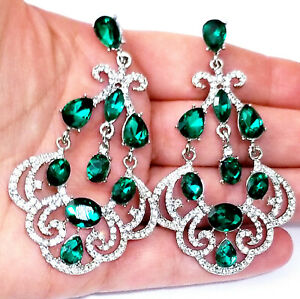 Rhinestone-Chandelier-Pageant-Earrings-Green-3-inch