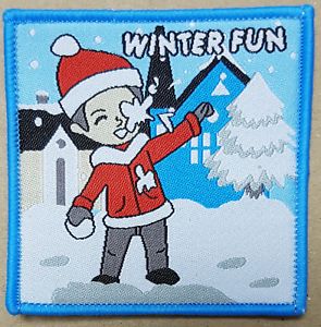 1 Winter Fun boy Christmas winter ice icy badge snow fun patch patches badges