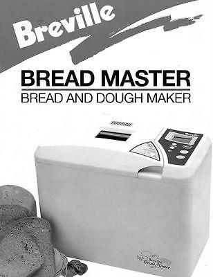 Breville Bread Machine Manual Bb350 Bb370 Bb380 Bb400 Bb405 Bb405c Bb410 Bb420 Ebay