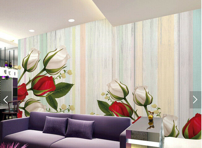 3D Flowers Stripe 69889 Wall Paper Wall Print Decal Deco Indoor Wall Mural CA
