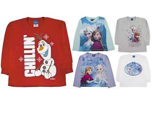 Disney Frozen Elsa Anna Olaf Long Sleeve T Shirt 100% Cotton Top Kids Size