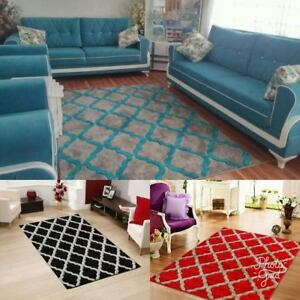 Large-Extra-Large-Harlequin-Rug-Silver-Teal-Soft-Thick-Pile-Rug-Carpet-Mat-Red