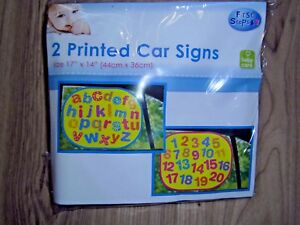 BABY CHILD ABC 123 CAR SIDE WINDOW SUN SHADES BLINDS COVER VISOR SHIELD YELLOW