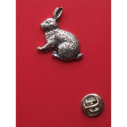 English Pewter RABBIT Pin Badge Tie Pin Lapel Badge ref A17