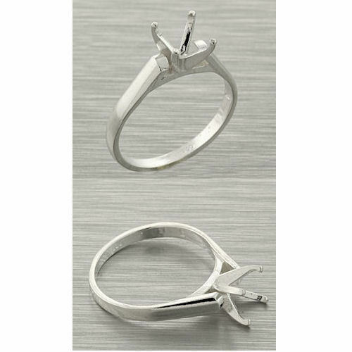 (4mm-7mm) Round Sterling Silver Cathedral Ring Setting (Ring Size 7)