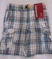 Unionbay® ' 8 -pocket Cargo Short- Archer Green Plaid Little Boys Sz 5-7