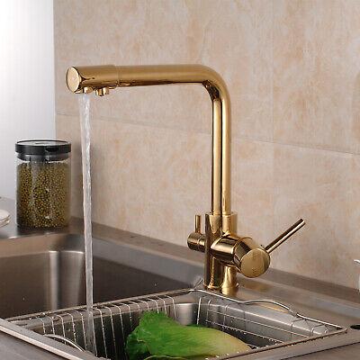 Pure Water Swivel Kitchen Sink Faucet Golden Single Handle Brass Tap Deck Mount 630174377716 Ebay