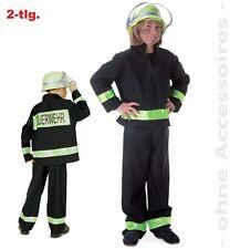 Fasching Feuerwehrmann Feuerwehr Kostüm schwarz 2-tlg. Gr.140  Karneval NEU