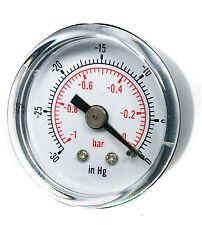 "Vacuum Gauge 50mm -1/0 Bar -30""Hg/0 1/8 BSPT Back Connection Air Water Oil Gas"