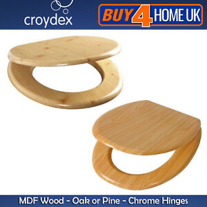 MDF-Wooden-Toilet-Seats-Oak-and-Pine-Wood-Effect-with-Chrome-Hinges