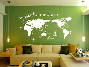 Huge world map wall art quote wall stickers home decals uk 168 ebay image is loading huge world map wall art quote wall stickers gumiabroncs Gallery
