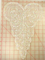 Vintage Bodice Applique White Ab With Swirl Designs & Pearls 14 X 10 Beaded